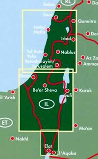 immagine di mappa stradale mappa stradale Israele, Palestina, Terra Santa - Hefa/Haifa, Tel Aviv, Gaza, Gerusalemme/Jerusalem, Elat - edizione 2020