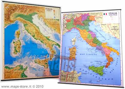 immagine di mappa murale mappa murale Italia Fisica e Politica (stampata su entrambi i lati) 138x98 cm, plastificata con aste