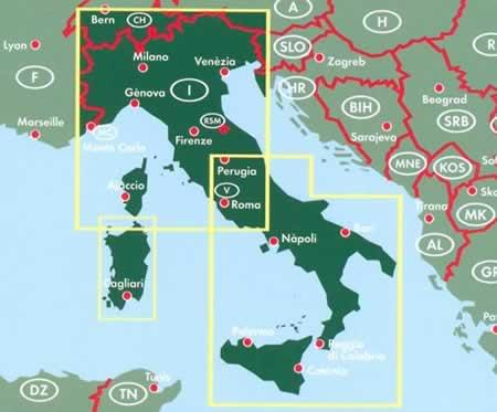 immagine di mappa stradale mappa stradale Italia / Italy - con mappe di città e codici postali - edizione 2018
