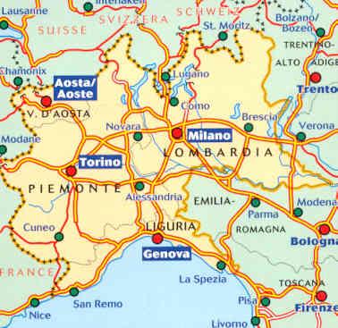 Cartina Autostradale Della Lombardia.Mappa Stradale N 561 Italia Nord Ovest Con Lombardia Piemonte Valle D Aosta Liguria