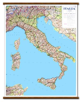 immagine di mappa murale mappa murale Italia - mappa murale plastificata e telata con aste in legno - 72 x 92 cm