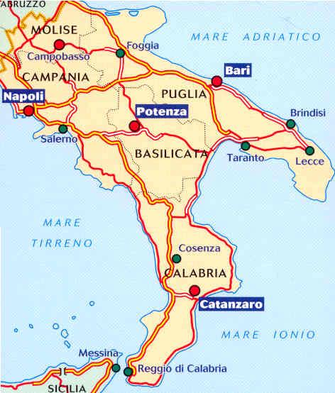 immagine di mappa stradale mappa stradale n.564 - Italia Sud - con Puglia, Molise, Campania, Calabria, Basilicata