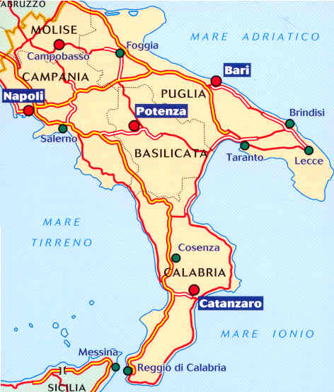Cartina Calabria E Puglia.Mappa Stradale N 564 Italia Sud Con Puglia Molise