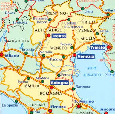 Cartina Topografica Venezia.Mappa Stradale N 562 Italia Nord Est Con Veneto Trentino Alto