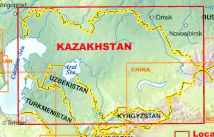 immagine di mappa stradale mappa stradale Kazakhstan - con Almaty, Astana - mappa plastificata - nuova edizione