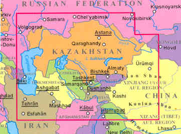 immagine di mappa stradale mappa stradale Kazakhstan, Kyrgyzstan, Tajikistan, Turkmenistan, Uzbekistan