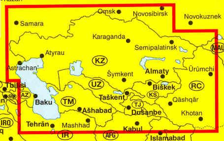immagine di mappa stradale mappa stradale Kazakistan, Uzbekistan, Turkmenistan, Tagikistan, Kirghizistan - edizione 2013