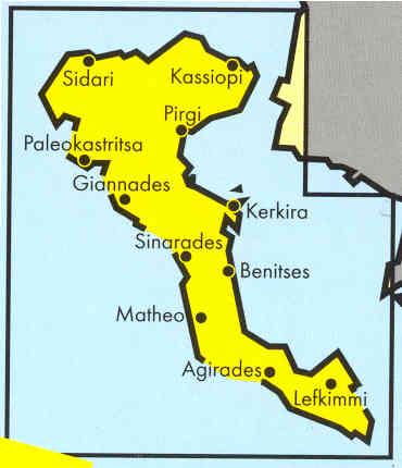 immagine di mappa stradale mappa stradale Korfu, Corfu