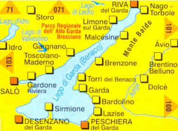 immagine di mappa topografica mappa topografica n.102 - Lago di Garda, Monte Baldo