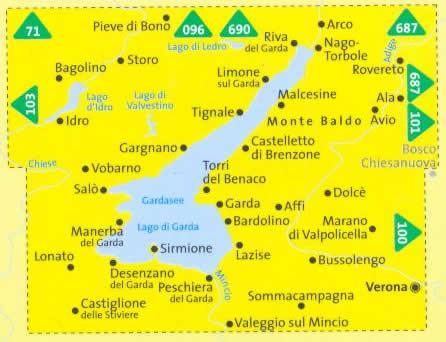 immagine di mappa topografica mappa topografica n.697 - Lago di Garda - Monte Baldo, Arco, Riva del Garda, Rovereto, Dolcè, Bussolengo, Verona, Peschiera, Desenzano, Castiglione delle Stiviere, Manerba, Salò, Lago d'Idro, Lago di Ledro - Set di 3 mappe compatibili con GPS - nuova edizione
