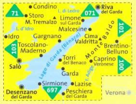 immagine di mappa topografica mappa topografica n.102 - Lago di Garda, Monte Baldo, Riva del Garda, Salò, Desenzano del Garda, Sirmione, Lago d'Idro, Caprino Veronese, Lago di Ledro - con informazioni turistiche, sentieri CAI, percorsi panoramici e parchi naturali - mappa plastificata, compatibile con GPS + mappa panoramica