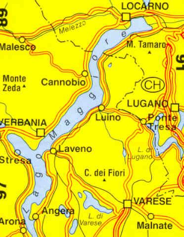 Cartina Geografica Del Lago Maggiore.Mappa Topografica N 90 Lago Maggiore E Lago Di Varese Con Verbania Stresa Laveno Luino Varese Locarno Lugano