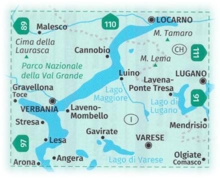 immagine di mappa topografica mappa topografica n.90 - Lago Maggiore, Lago di Varese, Lago di Lugano, Verbania, Stresa, Arona, Gravellona Toce, Laveno-Mombello, Luino, Cannobio, Locarno, Lugano, Mendrisio, Parco Nazionale della Val Grande, Malesco, Olgiate Comasco - compatibile con GPS - edizione 2020