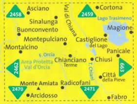 immagine di mappa topografica mappa topografica n.2463 - Lago Trasimeno, Val d'Orcia, Montepulciano, Montalcino, Monte Amiata, Asciano, Cortona, Sinalunga, Chianciano Terme, Chiusi - con informazioni turistiche, sentieri CAI, percorsi panoramici e parchi naturali - mappa plastificata, compatibile con GPS - nuova edizione
