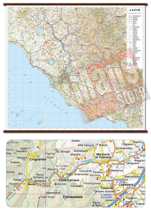 immagine di mappa murale mappa murale Lazio - mappa murale plastificata con eleganti aste in legno, scrivibile e lavabile - cartografia dettagliata ed aggiornata - 96 x 86 cm