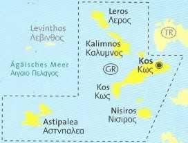 immagine di mappa topografica mappa topografica n.252 - Kos, Leros, Kalimnos, Nisiros, Astipalea (isole della Grecia) - mappa escursionistica, con spiagge, percorsi per il trekking, luoghi panoramici e parchi naturali - compatibile con GPS - nuova edizione