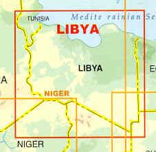 immagine di mappa stradale mappa stradale Libia / Libya - con Tripoli, Bengasi, Misurata, El-Azizia, Tarhuna, Beida, Homs, Ez Zauia, Zuara, Agedabia - mappa stradale plastificata - con spiagge, oasi, pozzi d'acqua e di petrolio, stazioni di servizio e piste per il fuoristrada - nuova edizione