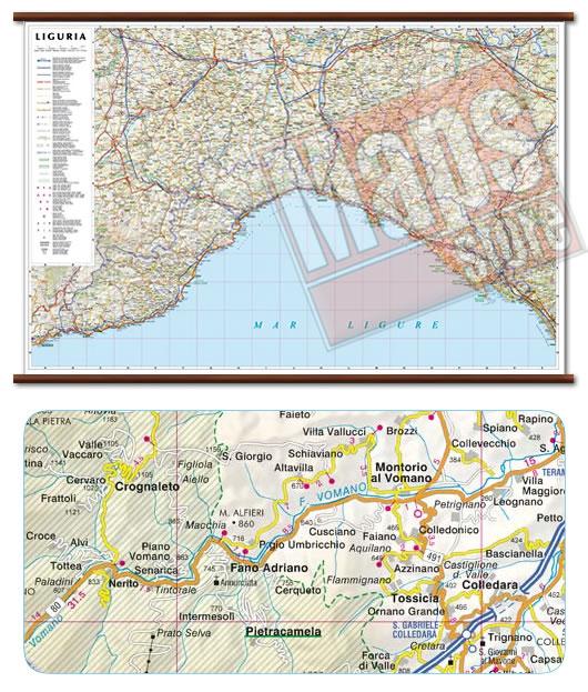 immagine di mappa murale mappa murale Liguria - mappa murale plastificata con eleganti aste in legno, scrivibile e lavabile - cartografia dettagliata ed aggiornata - 96 x 63 cm