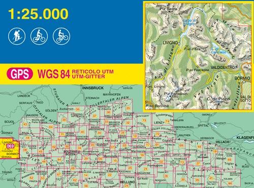 immagine di mappa topografica mappa topografica n.069 - Livigno, Bormio, Val Viola, Val di Fraele, Piz Paradisin, C. de Piazzi, Valdidentro, Val Mora, Lago di Cancano, Piz Serra, Lago di Livigno, Val di Sotto - compatibile con GPS