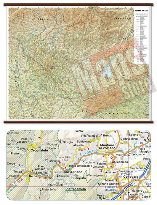 immagine di mappa murale mappa murale Lombardia - mappa murale plastificata con eleganti aste in legno, scrivibile e lavabile - cartografia dettagliata ed aggiornata - 108 x 86 cm