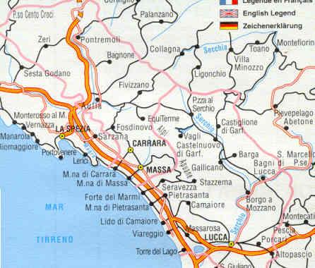 Cartina Italia Lucca.Mappa Stradale Provinciale Lucca Massa Carrara