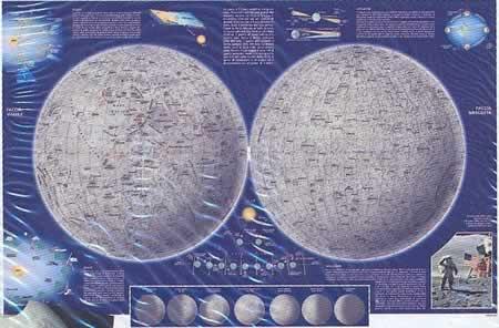 immagine di mappa del cielo mappa del cielo La Luna - mappa astronomica con informazioni sulle eclissi, librazioni, fasi lunari e maree - nuova edizione