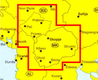 immagine di mappa stradale mappa stradale Macedonia, Kossovo