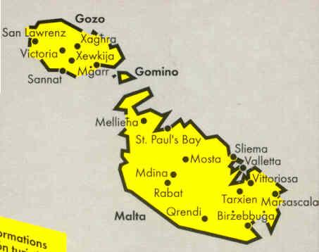 Malta Cartina Stradale.Mappa Stradale Malta Gozo
