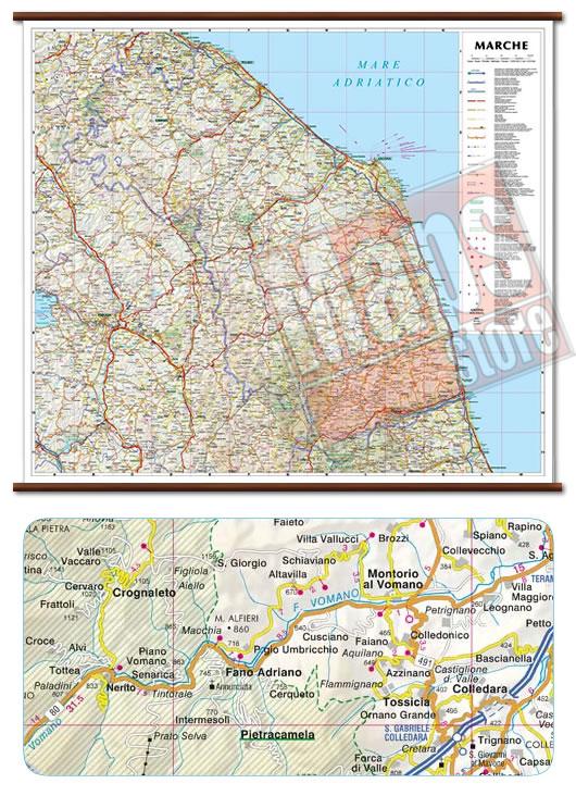 immagine di mappa murale mappa murale Marche - mappa murale plastificata con eleganti aste in legno - cartografia dettagliata ed aggiornata - 72 x 63 cm
