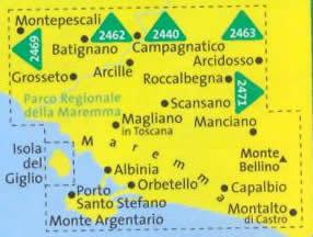 immagine di mappa topografica mappa topografica n.2470 - Maremma, Grosseto, Monte Argentario, Isola del Giglio, Parco Regionale della Maremma, Parco Naturale dell'Uccellina, Scansano, Capalbio, Orbetello - mappa plastificata, compatibile con sistemi GPS - edizione 2019