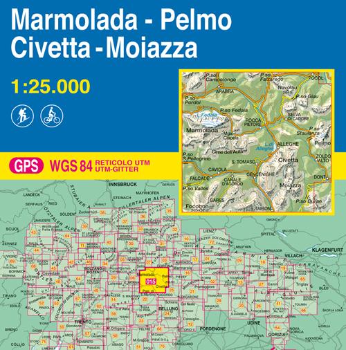 Cartina Tabacco 015.Mappa Topografica 015 Marmolada Pelmo Civetta Moiazza