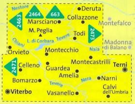 immagine di mappa topografica mappa topografica n.2472 - Marsciano, Todi, Terni, Orvieto, Amelia, Narni, Montecchio, L. di Corbara, M. Peglia, Viterbo, Calvi dell'Umbria, Montecastrilli, Parco Fluviale del Tevere - mappa plastificata - compatibile con GPS - nuova edizione