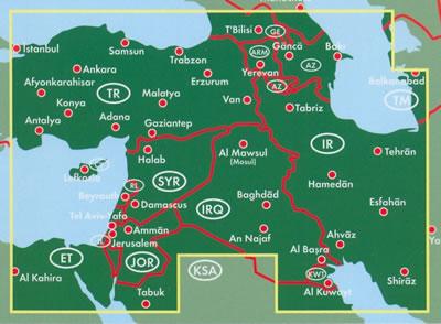 immagine di mappa stradale mappa stradale Medio Oriente / Middle East / Naher Osten - Turchia Est, Armenia, Sud della Georgia, Azerbaijan, Ovest dell'Iran, Iraq, Kuwait, Giordania, Israele, Libano, Siria, confini con l'Egitto e Arabia Saudita - nuova edizione