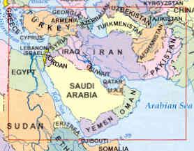immagine di mappa stradale mappa stradale Middle East - Medio Oriente - Naher Osten (con Turchia, Siria, Libano, Israele, Giordania, Egitto, Arabia Saudita, Yemen, Oman, Kuwait, Iraq, Iran, Afghanistan, Pakistan, Turkmenistan)