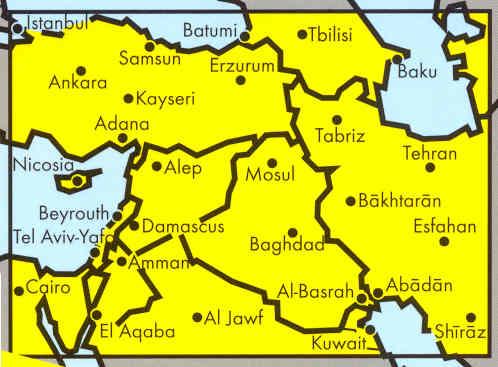 immagine di mappa stradale mappa stradale Middle East, Medio Oriente - Turchia, Armenia, Azerbaijan, Iran, Iraq, Kuwait, Giordania, Israele, Siria, Egitto