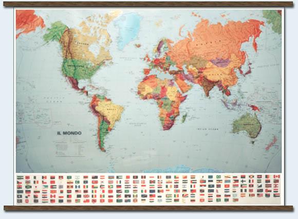 immagine di mappa murale mappa murale Il Mondo Fisico-Politico (Planisfero), con bandiere