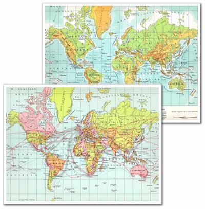 immagine di mappa scolastica mappa scolastica Il Mondo - planisfero da tavolo, fisico-politico, plastificato 29 x 37 cm - edizione 2013