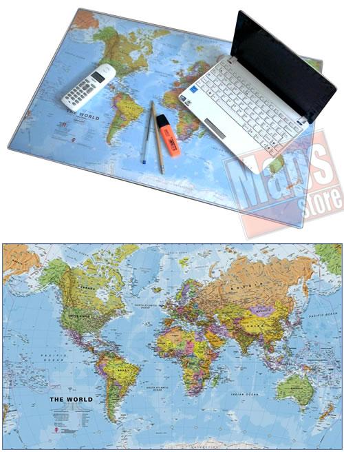 immagine di mappa mappa Mappa del Mondo (Planisfero) da Tavolo - Tappetino Mouse/Sottomano in gomma flessibile, dim. 67 x 43 cm - lavabile, antiscivolo, impermeabile - nuova edizione