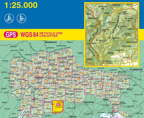 Cartina Geografica Bassano Del Grappa.Mappa Topografica N 051 Monte Grappa Bassano Feltre Valstagna Possagno Pederobba Alano Di Piave Primolano Con Reticolo Utm Compatibile Con Gps Nuova Edizione