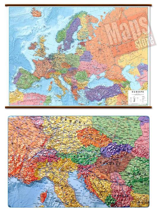 immagine di mappa murale mappa murale Mappa Murale d'Europa - con cartografia politica e fisica, molto dettagliata - plastificata, con eleganti aste in legno e ganci in acciaio - 126 x 92 cm - edizione 2019