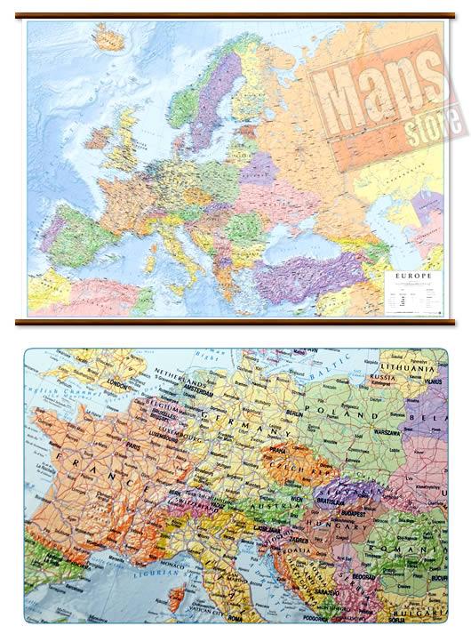 immagine di mappa murale mappa murale Mappa Murale d'Europa - con cartografia politica e fisica - plastificata, con eleganti aste in legno e ganci in acciaio - 102 x 74 cm - edizione 2019