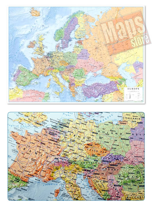 immagine di mappa murale mappa murale Mappa Murale d'Europa - con cartografia politica e fisica - plastificata - 96 x 68 cm - edizione 2019