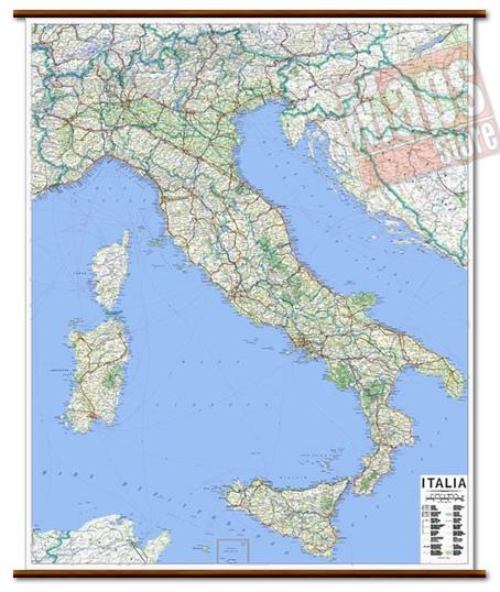 immagine di mappa murale mappa murale Mappa Murale d'Italia - cartografia aggiornata e molto dettagliata con limiti di regione e rete stradale - mappa plastificata con eleganti aste in legno - 105 x 135 cm - edizione 2019