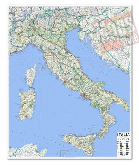 immagine di mappa murale mappa murale Mappa Murale d'Italia - cartografia aggiornata e molto dettagliata con limiti di regione e rete stradale - mappa plastificata - 100 x 130 cm - edizione 2018
