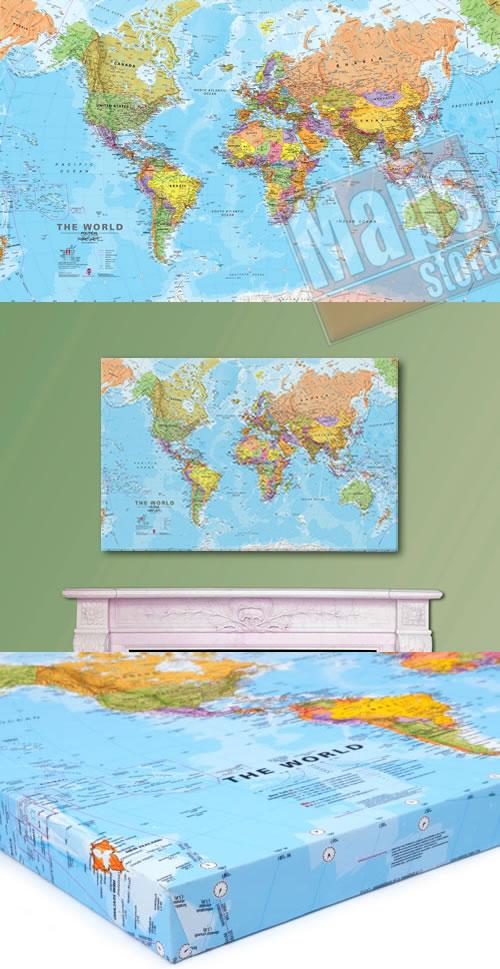 immagine di mappa murale mappa murale Mappa Murale del Mondo su Canvas - planisfero con design moderno e cartografia di alta qualità - 100 x 80 cm
