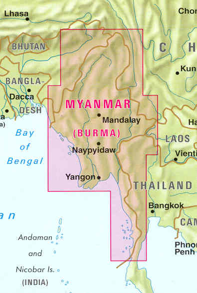 immagine di mappa stradale mappa stradale Myanmar / Burma (Birmania)