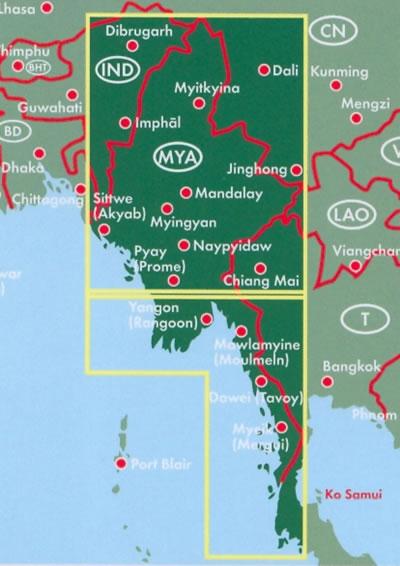 immagine di mappa stradale mappa stradale Myanmar / Burma / Birmania - con Naypyidaw, Yangon/Rangoon, Mandalay, Bagan, Pegu, Moulmein, Sagaing, Tavoy/Dawei, Pathein, Taunggyi