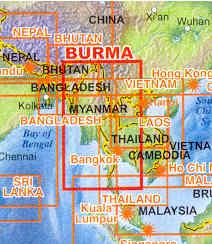 immagine di mappa stradale mappa stradale Myanmar / Burma / Birmania - con Yangon (Rangoon) e Mandalay