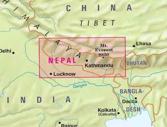 Cartina Mondo Nepal.Mappa Stradale Nepal Con Kathmandu Patan Pokhara Mt Everest