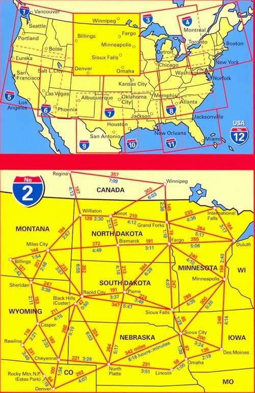 immagine di mappa stradale mappa stradale n.2 - USA North Central, Great Plains, Indian Country - con Cheyenne, Badlands, Black Hills, Mt Rushmore, North and South Dakota, Nebraska, Montana, Wyoming, Minnesota, Iowa - con cartografia aggiornata, dettagliata e facile da leggere + guida stradale - edizione 2019